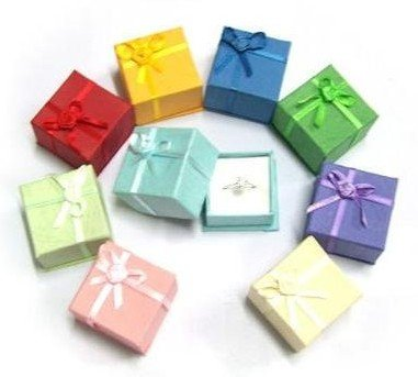 Free Shipping 264 Pcs Mixed Colors Silver Jewelry Ring Paper Bo Organizer Gift Package