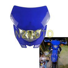 Azul Universal faro de la motocicleta de la bici de la suciedad MX Enduro la luz de la cabeza para Yamaha WR TTR YZ YZF 250 450 H4 12V 35W