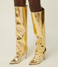 Sexy Runway Boot Pointed Toe Gold Mirror Leather Thigh High Boots Thin Heels Patent Ladies Winter Long Plus Size