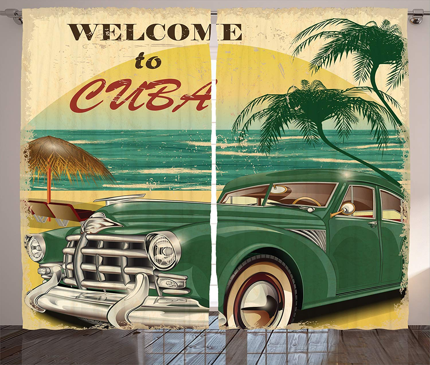 1950s Curtains Nostalgic Welcome to Cuba Artsy Print Classic Car Beach Ocean Palm Trees Living Room Bedroom 2 Panel Set Cream image
