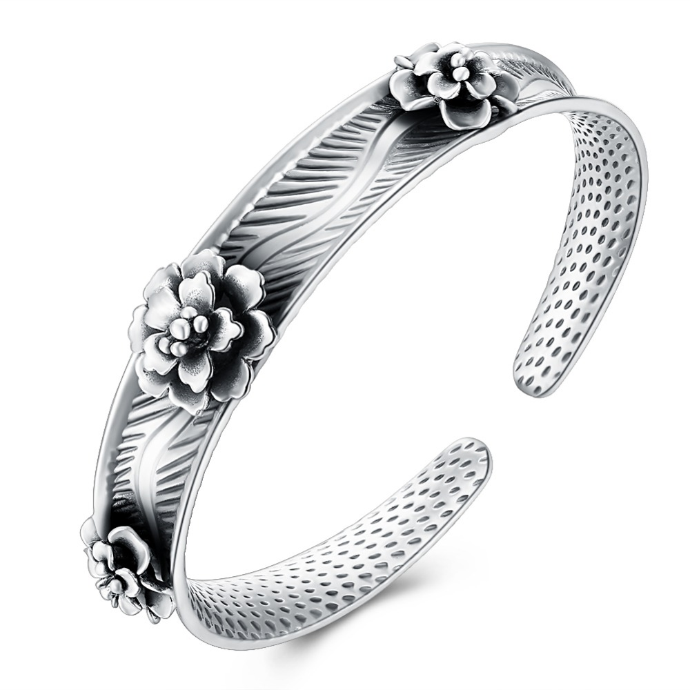 VC99 Classical Flower 925 Sterling Silver Strand Bracelet for women Jewelry Engagement