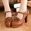 Novo 2017 Bege Preto Lolita bowtie sapatos mulher doce bonito sapatos meninas sapatos de couro sapatos de plataforma com tira no tornozelo do salto alto das mulheres bombas