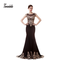 O Neck Black Chiffon With Gold Lace Applique Black Prom Dresses Mermaid Sleeveless Long Evening Dress