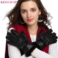 Original Brand Russian Winter Natural Sheep Fur Gloves for Womens Ladies Thicken Wool Female Outdoor Ski Guantes