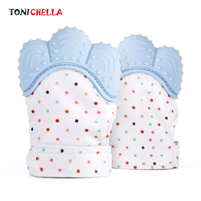 1 Pair Silicone Baby Teether Pacifier Glove Natural Thumb Sound Teething Chewable Nursing Beads Infant BPA Free Pastel 2T0400