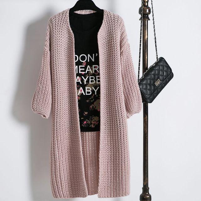 2016 Nueva Otoño Invierno Mujeres O-cuello Largo Suéter del Suéter de la Rebeca Floja Coreana Chaqueta Casual Punto de Mujer E177