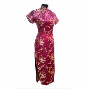 Image 4 - Black Red Traditional Chinese Dress Womens Satin Long Cheongsam Qipao Flower Size S M L XL XXL XXXL 4XL 5XL 6XL