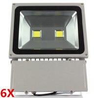 6 adet Led projektör 100 W Projektör Su Geçirmez IP65 110 V 220 V Açık Spot bahçe ledi projektör Soğuk/Sıcak beyaz/beyaz