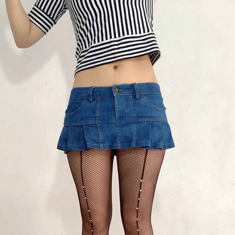 d672349fc29c0 Sexy Women Plus Size Pleated Micro Mini Jeans Skirt Pocket Stage Dance Skirt  Low Rise Waist