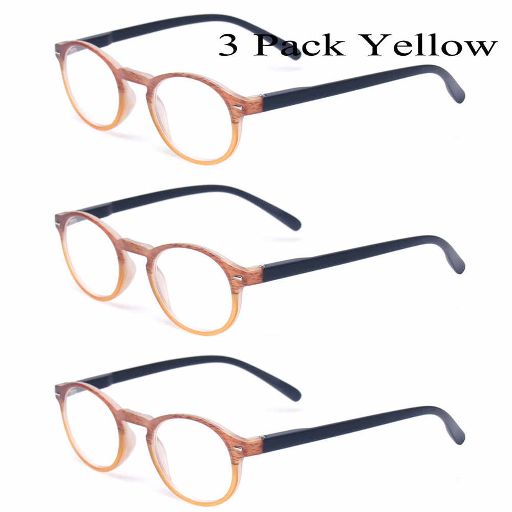 e86194a78c ... Classic Retro Round Reading Glasses Set Of 3 Spring Hinge Men and Women  Wood-Look ...
