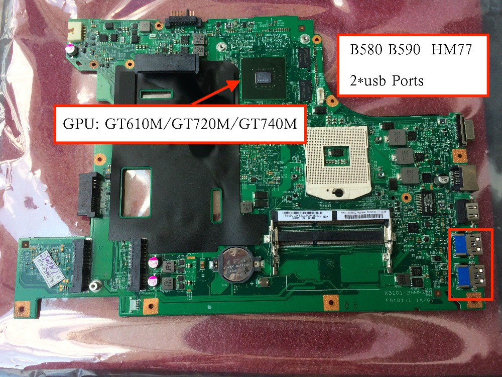 Free Shipping Tested B590 b580 Motherboard For Lenovo B590 b580 mainboard with GT740M 1GB GPU kefu b590 mainboard for lenovo b590 b580 laptop motherboard pga989 hm70 test work 100