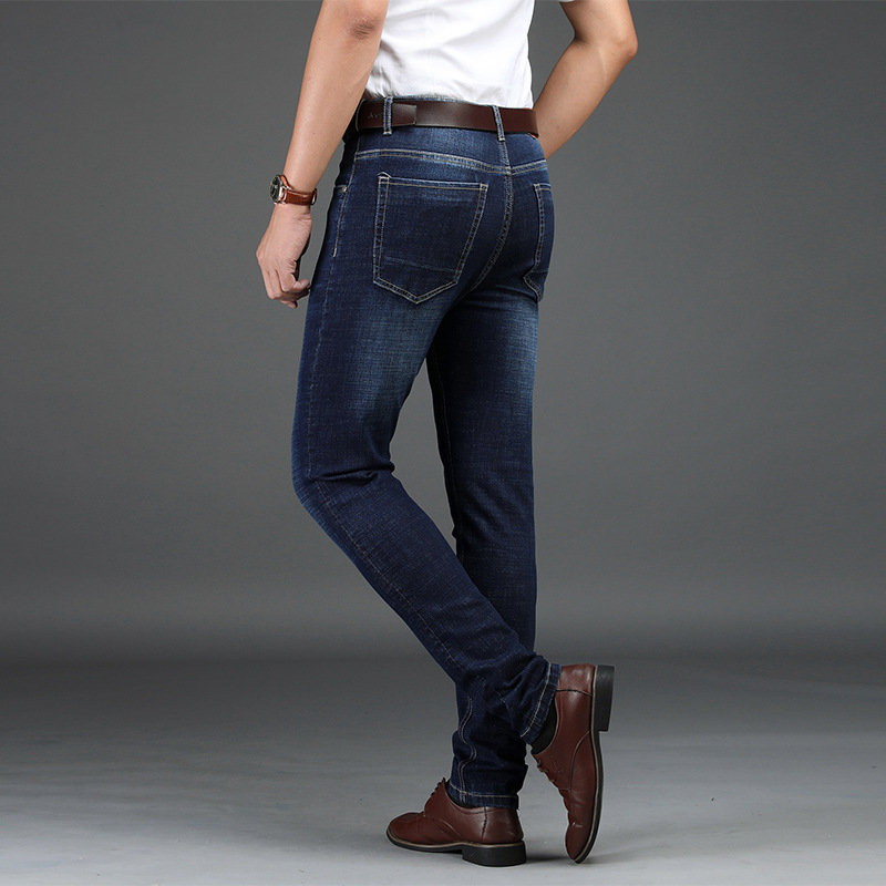 Men Jeans Pants Smart Casual Straight Jeans for Men Cotton Regular Blue Denim Slim Jeans Men  Pants Man  Full Length Cargo Pants