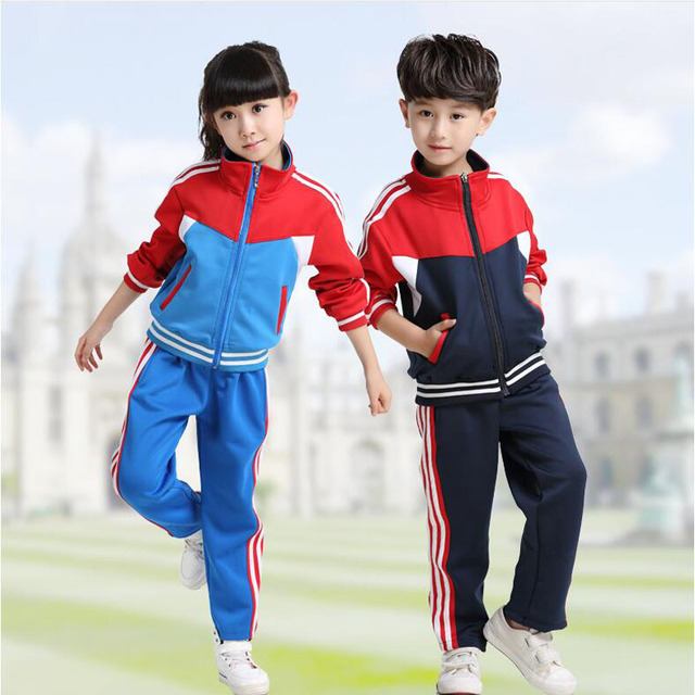 7ffc83b3af676 Rojo adultos niños uniforme escolar primaria estudiantes adolescentes  trajes Niños Niñas otoño cottontracksuits ropa deportiva 2