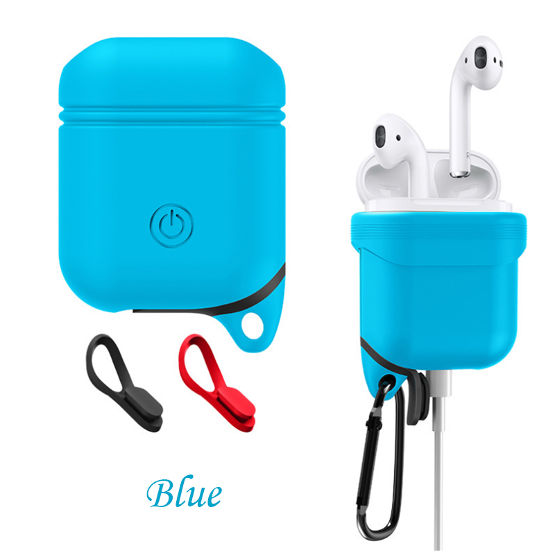 DOITOP Soft Silicone Case Cover For Airpods Waterproof Shockproof Protector Case Sleeve Pouch for Air Pods Earphone With Hook