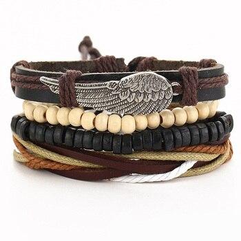 Vintage Multilayer Leather Bracelet for Men Bracelets Jewelry Men Jewelry New Arrivals Metal Color: BJDY190
