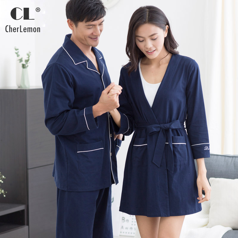 CherLemon Autumn Men 100% Cotton Long Pajamas Classic Male Notch Collar Top and Elastic Waist Pants Sleepwear Set Navy Blue