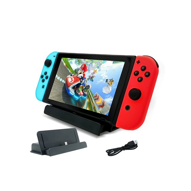 Nintend Switch 10 in 1 Accessories Kit with 4 Steer Wheels 4 Joy-con Handle Grips + 1 Console USB Charger for Nintendo Switch 4