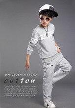 2015 новинка мальчики спортивный пуловер комплектов одежды бренда печать карманный дети костюм хлопок пальто + брюки носят для мальчиков