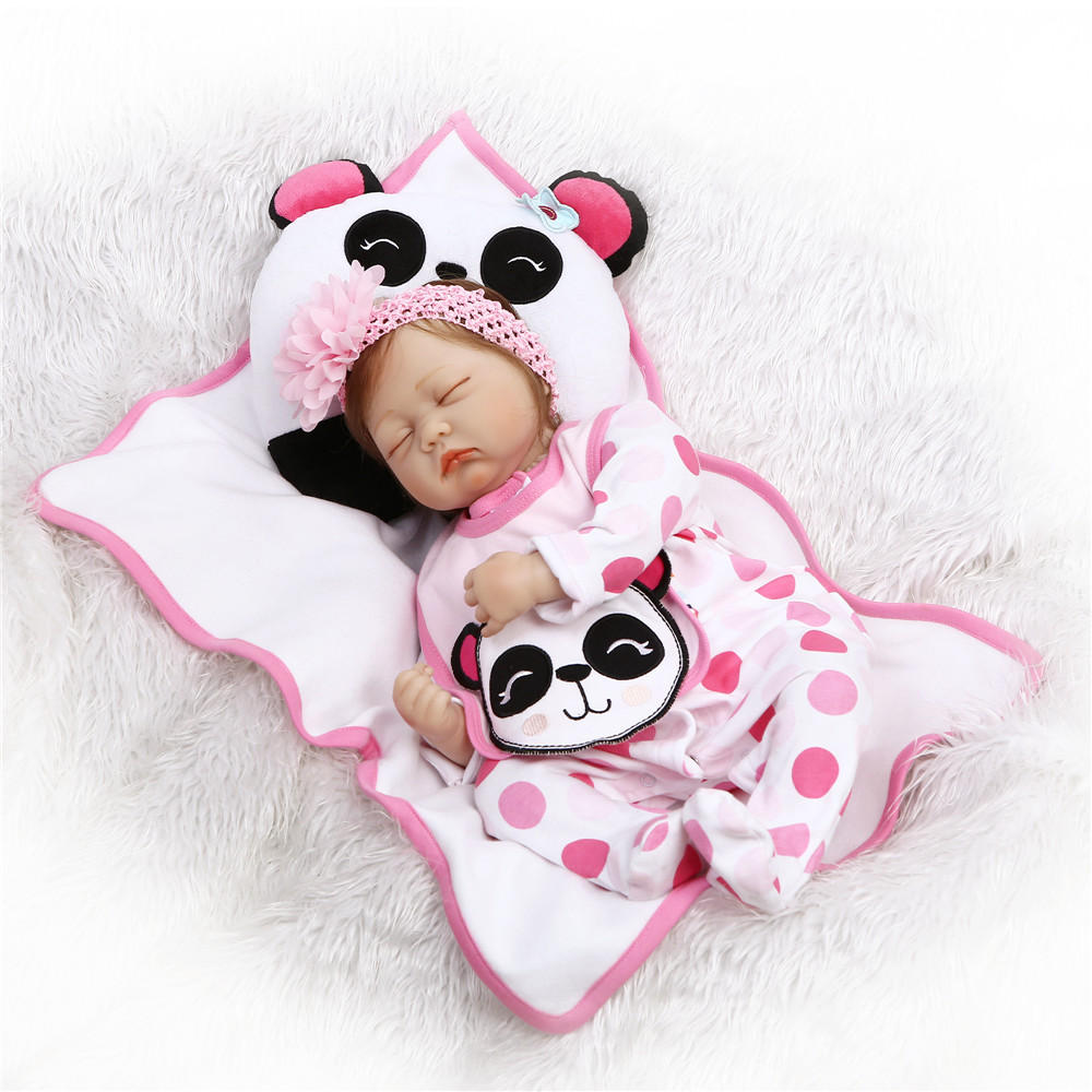 Bebes Reborn NPK real baby sleeping dolls 2255cm lifelike silicone reborn baby dolls toys for children gift with panda pillowBebes Reborn NPK real baby sleeping dolls 2255cm lifelike silicone reborn baby dolls toys for children gift with panda pillow