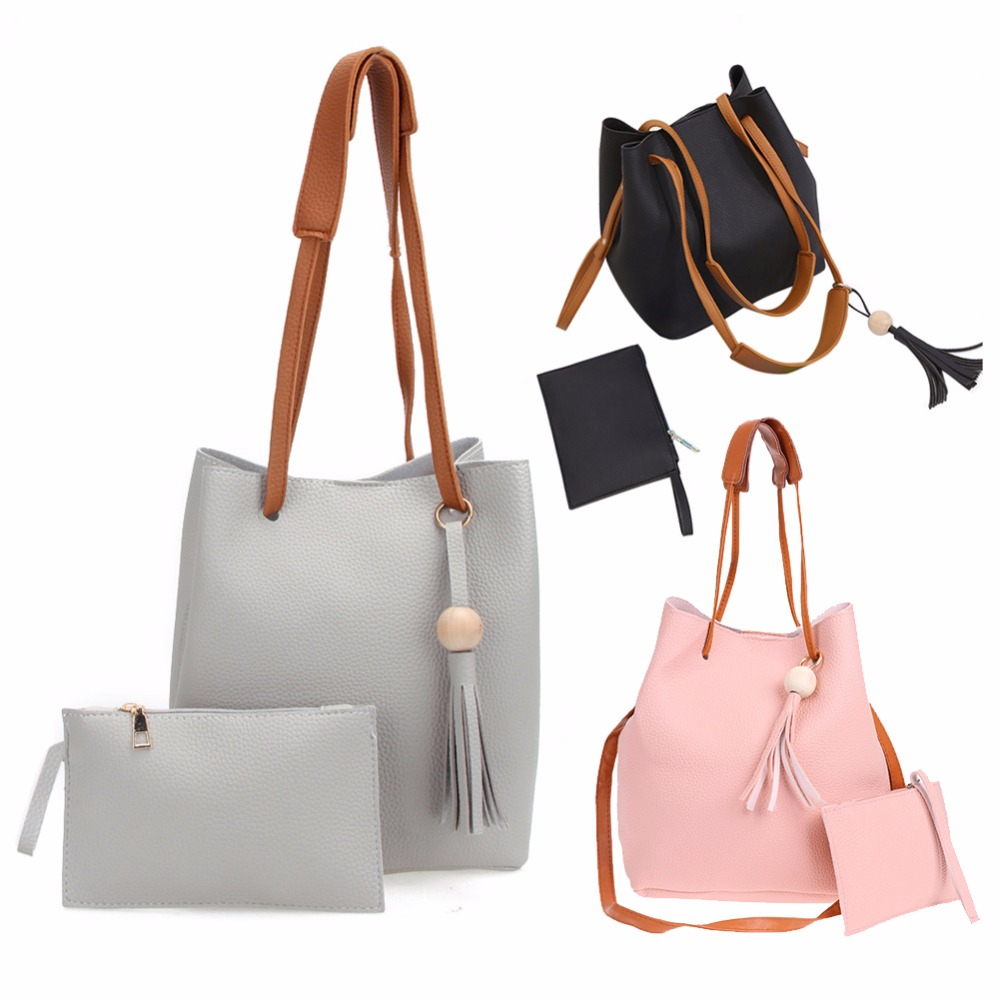 c52c805f29695 2Pcs Shoulder Bags Designer Women Leather Handbags High Quality PU Leather  Drawstring Bucket Bag Crossbody bolsos mujer-in Shoulder Bags from Luggage    Bags ...