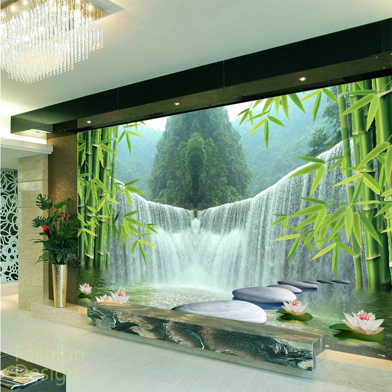 Customized Mural Large 3d Chinese Style Landscape With Waterfall Bamboo Forest Behind Sofa As Background In Room