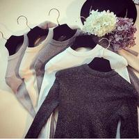 Slim Bright Lurex Sweater Fitness Women Autumn Winter Hedging Long Full Sleeves Tight Top Shirt Short