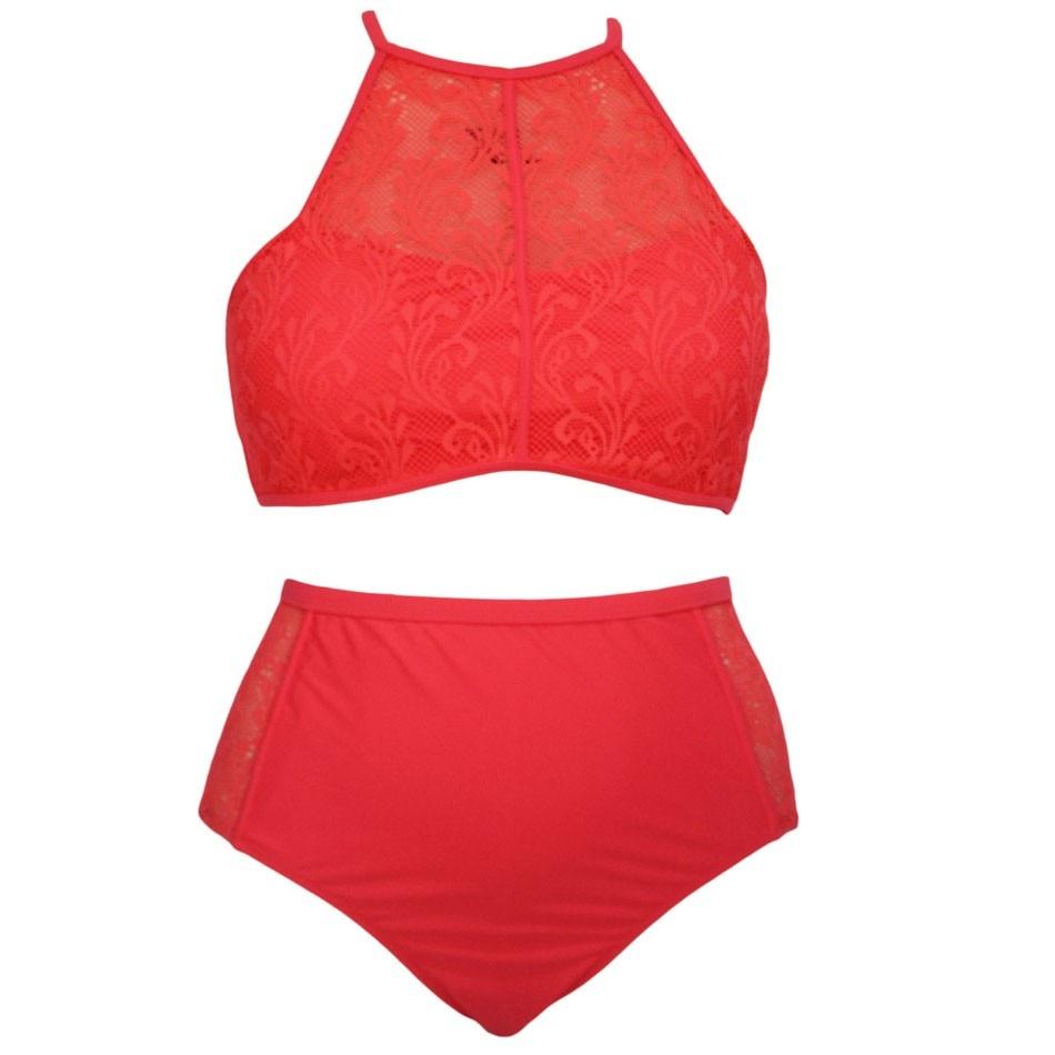 SEBOWEL Sexy Plus Rozmiar Wysokiej Talii Strój Kąpielowy Kobiety - Ubrania sportowe i akcesoria - Zdjęcie 2