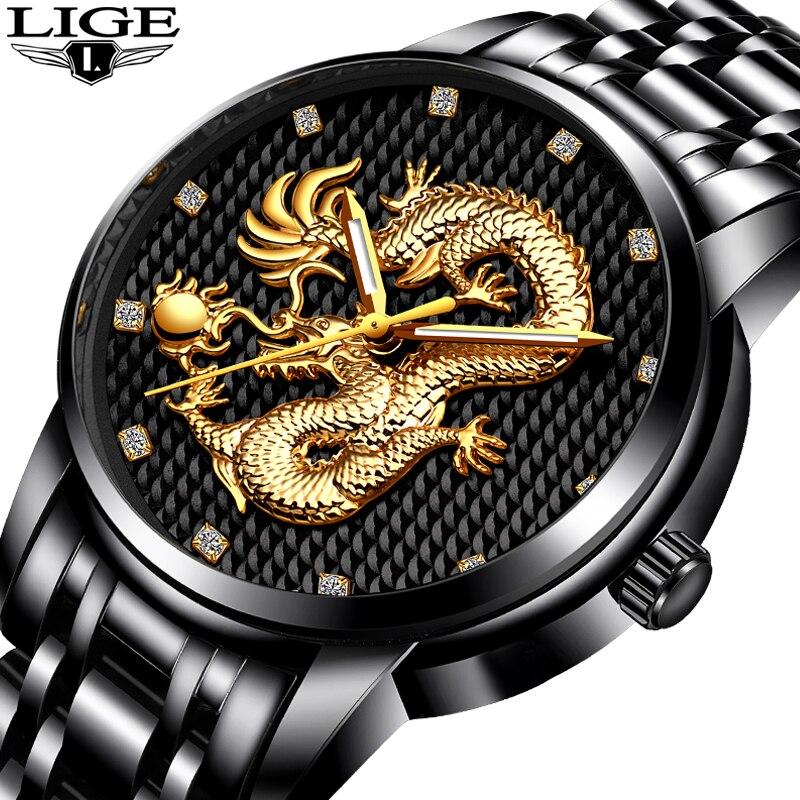Hombres relojes Top marca Lige lujo oro dragón escultura cuarzo hombres reloj de acero completo reloj impermeable Relogio Masculino