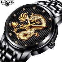 Men Watches Top Brand LIGE Luxury Gold Dragon Sculpture Quartz Watch Men Full Steel Waterproof Wristwatch