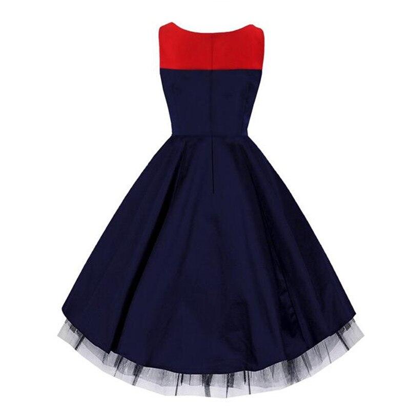 bluebalck hohe neue patchwork kleider navy 2017 s damen sleeveless schule mode dress v taille up 1950 ausschnitt tutu pin u5T1F3lJKc