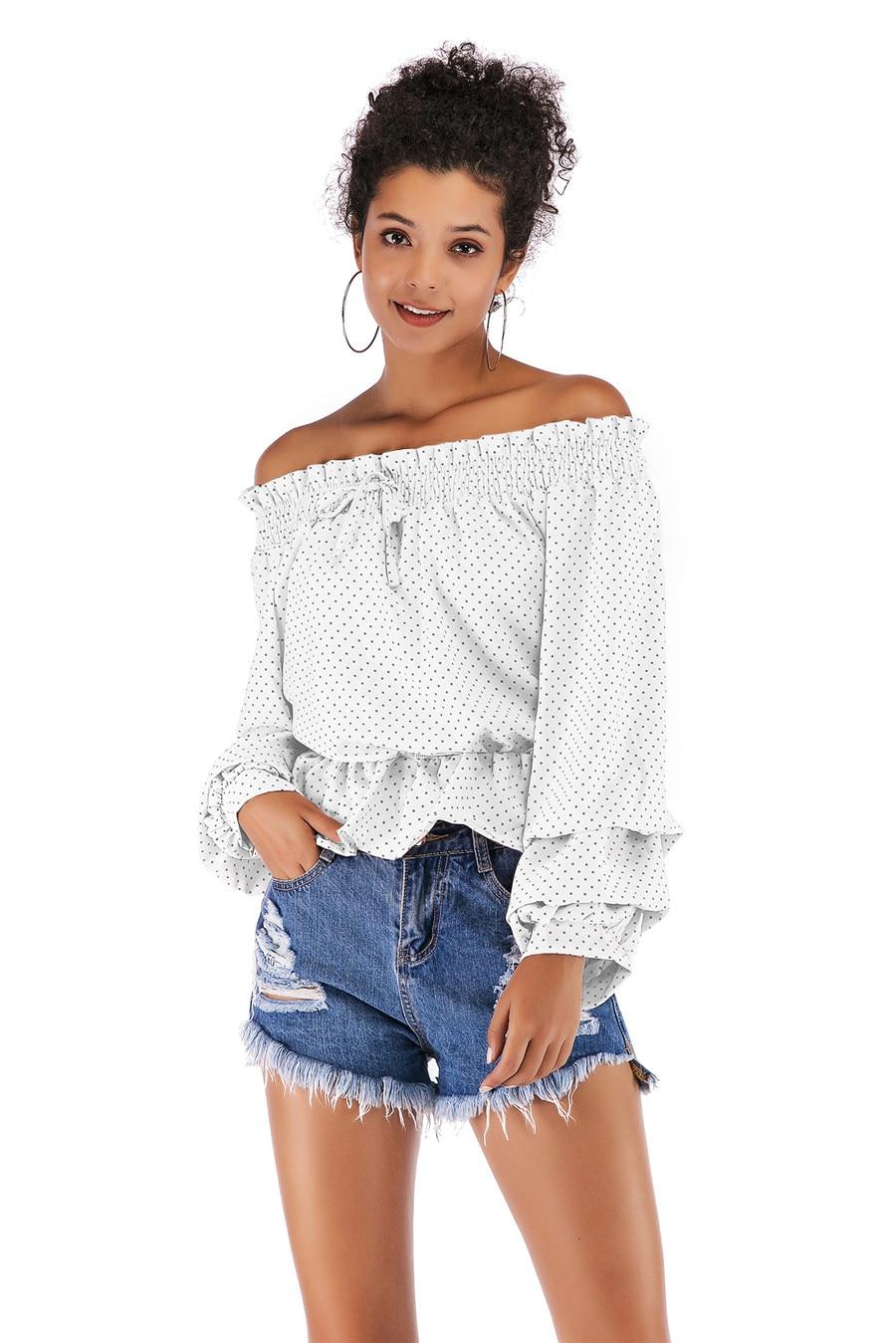 Gladiolus Chiffon Blouse Women 2019 Spring Autumn Long Sleeve Polka Dot Off Shoulder Sexy Blouses Women Shirts Ruffles Blusas (21)