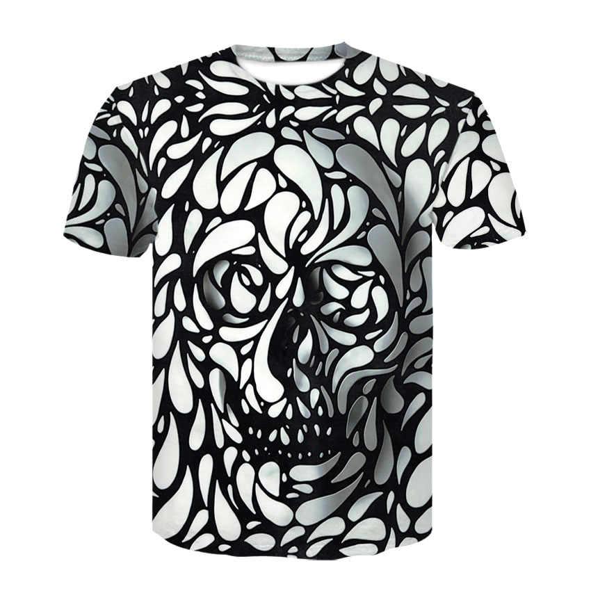 3D Maglietta degli uomini vestiti 2019 Del Cranio Stampe di moda di Marca Pantaloni A Vita Bassa Harajuku Magliette Camicia Superiore di Estate Fresco Streetwear camiseta masculina
