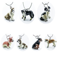 2018 Europe and America selling cute dog necklace animal modeling alloy drop oil necklace pendant female jewelry