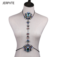 JERPVTE 3 컬러 보석 크리스탈 바디 보석 섹시 비치 체인 목걸이 여성 문 비키니 보석