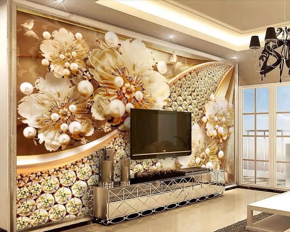 Custom Luxury Wallpaper Home Decor Jewelry Flower 3d Wallpaper Murals Living Room 3 D Wallpaper For Walls Wallpapers Aliexpress