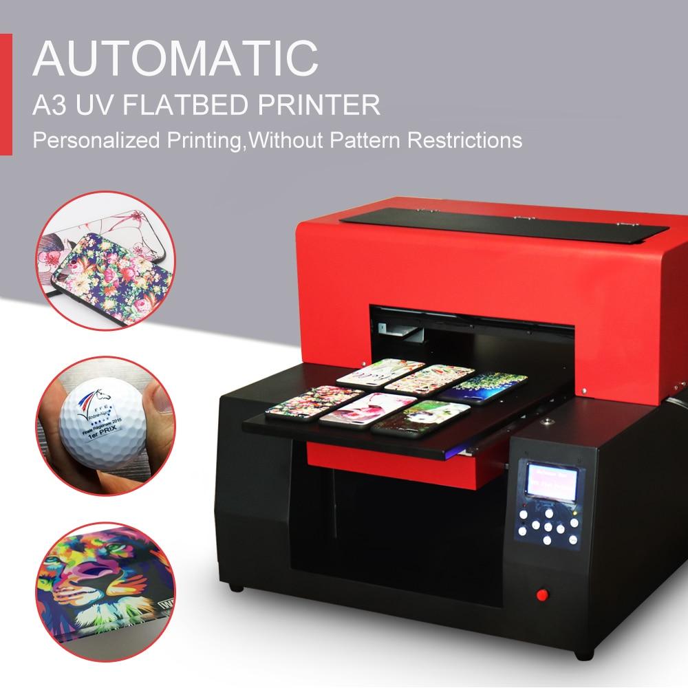 A3 UV Printer  Automatic LED 6 Colors Advanced Micro Piezo Inkjet Printer For Phone Case/Bottle/T-shirt/TPU Etc