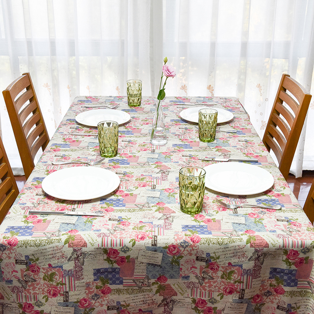 2017 Spring New Linen Table Cloth Europe Vintage Style Flora Printed  Tablecloth Table Cover Manteles Para