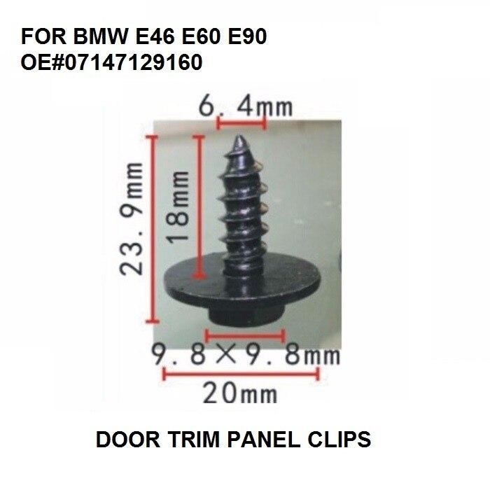 HOT NEW Door Trim Panel Clips For BMW E46 E60 E90 etc Hex Head Metal Screw Set Of 10 GENUINE 07147129160