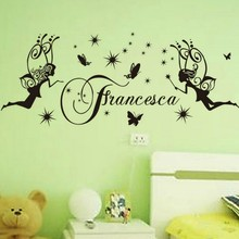 Free Shipping Vinyl Wall Sticker Francesca Fairy Girl And Butterfly Art Wal Mural  Nursery Girls Bedroom Decor StickerY-615