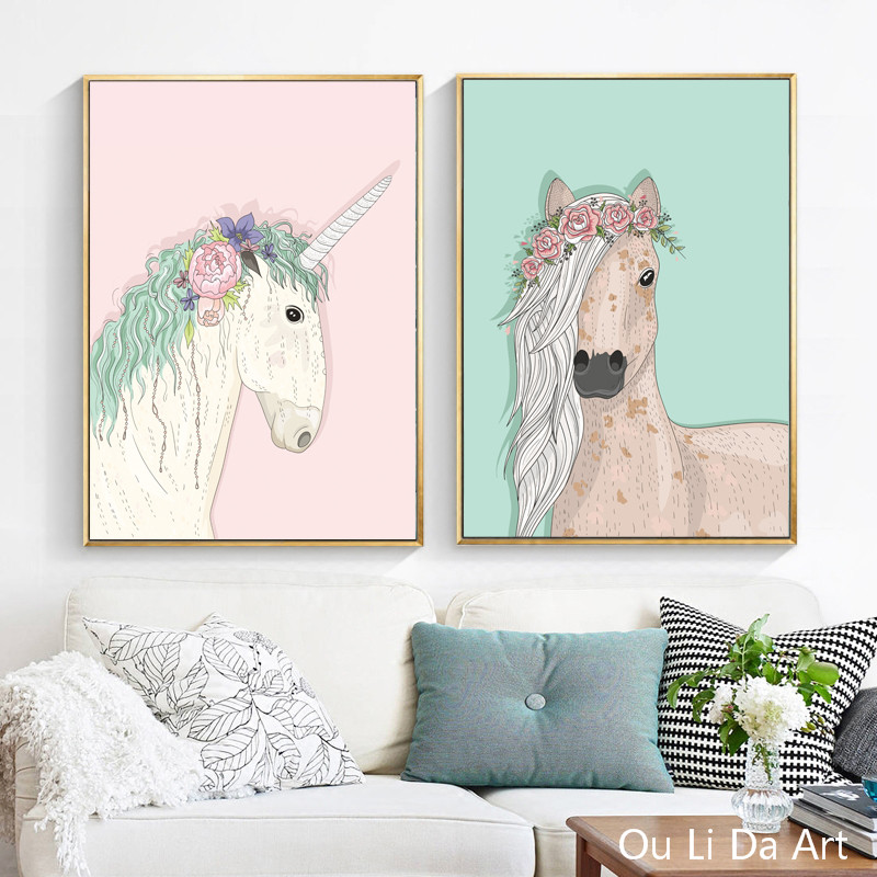 Keine rahmen cartoon flamingo elch unicorns leinwand drucke ...