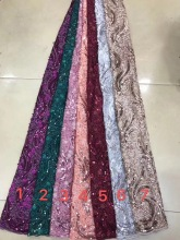Hot Sale 2019 high quality african tulle lace fabric Wholesale sequins French net for Nigeria wedding White DYS136