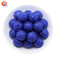 R23 Cordiale Disegno 20 MILLIMETRI 100 Pz/lotto Royal Blu Chunky Resina Branelli Del Rhinestone Chunky Perline Per La Collana Che Fa CDWB 516012