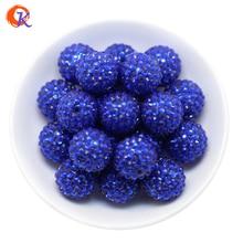 R23 design cordial 20mm 100 pçs/lote azul real chunky resina strass grânulos grossos para fazer colar CDWB 516012