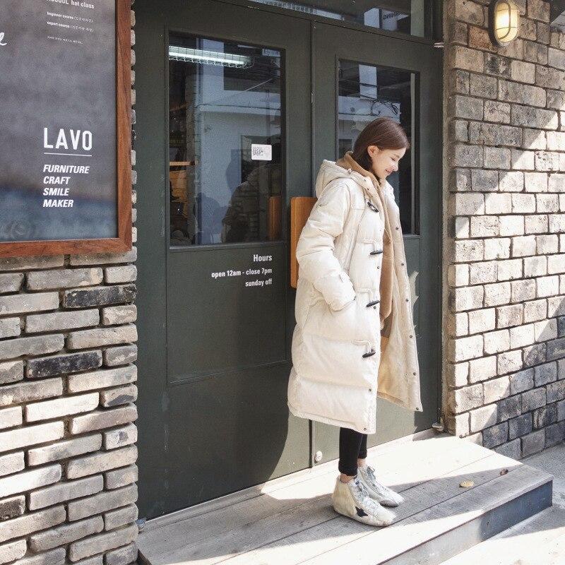 2018 New Winter Korea Clean Beige Hoodie Button Warm Padded Female Loose Long Jacket Fashion Warm Overcoat Parkas