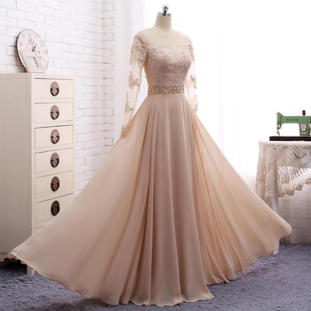 Long Sleeves Muslim Evening Dress Champagne Chiffon Scoop Neck Gowns Liques Beading Prom
