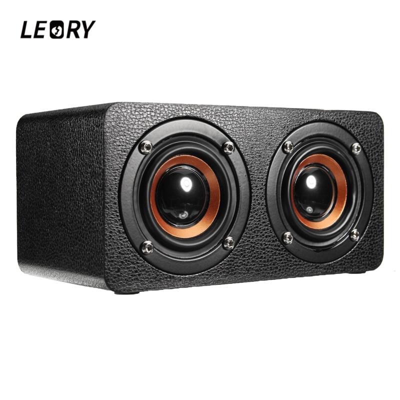 LEORY M5 Portable Bluetooth Speaker Wireless 10W 2000mAh Wooden Speaker 16GB Supports MP3 Music Loudspeaker Black Graffiti
