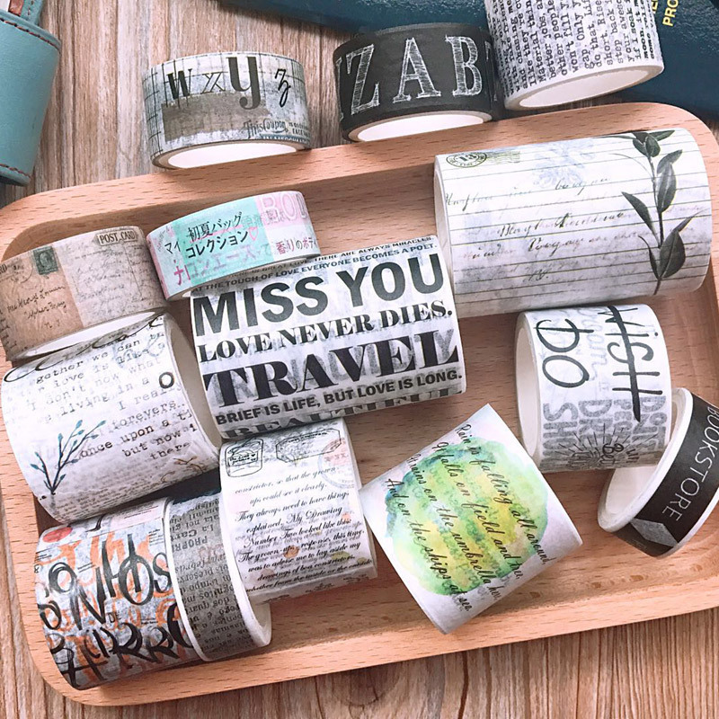 15-60mm*5m Retro Letter Leaf Plant Washi Tape Stickers Scrapbooking Masking Tape School Office Supplies Bullet Journal Sl1525