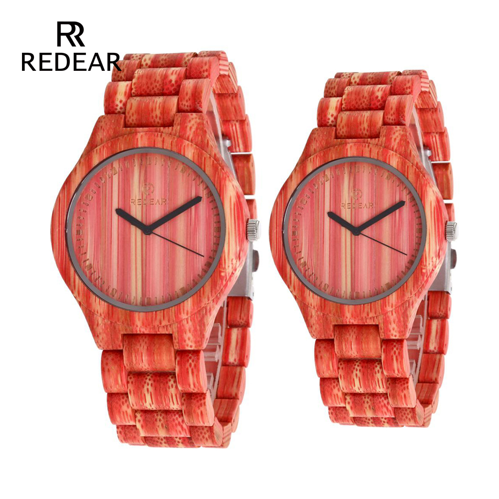 REDEAR OEM Lover's Watches Red Bamboo Wood Watch Woman All Natual Green Bamboo Quartz Watches for Men as Valentines Gift