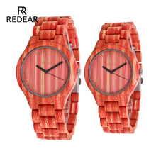 REDEAR Lover's Ceasuri Red Bamboo Lemn Watch Bamboo Band pentru ceasuri de cuarț ca cadou accepta OEM Dropshipping