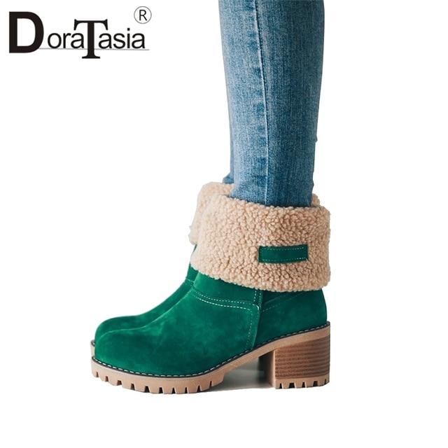 DORATASIA Hot Sale big size 34-43 women platform snow boots 6 cm high heels women winter turned-over edge fur boots shoes woman